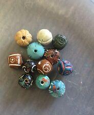 Vintage Sample Card Painted Ethnic Boho Style Mix Roundish Clay Bead Lot