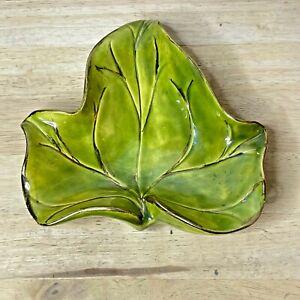"Ceramic Candy Dish Leaf Leaves Light Green Gold Trim 7"" Vintage MCM Ashtray ""SD"""