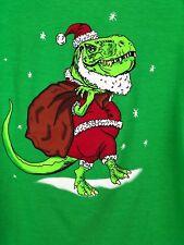 Christmas T-Rex Santa Boys Girls Children's Kid's T-Shirt Green Large 12/14