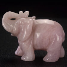 2  inch carved rose quartz elephant animal lucky figurine Feng Shui Reiki decor