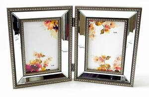 Double Photo Frame Beveled Mirror Strips Between Beaded Borders for 4x6 Pictures