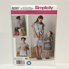Uncut Simplicity Pattern 8087 Childs And Misses Pullover Dress And Top XS - XL