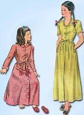 1940s Vintage Simplicity Sewing Pattern 1128 Uncut Girls Housecoat Slippers Sz 6