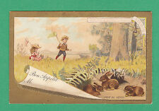 LIEBIG  - EXTREMELY RARE TABLE CARD -  REF. T2  -  CHILDREN  &  HARES  -  1892