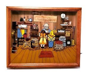 Country General Store 3-D Wooden Shadow Box Painted Glass Vintage Decor Look