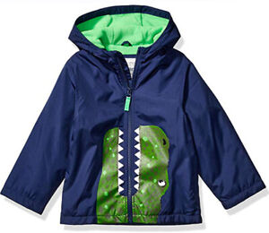 Carter's Boys Navy Dinosaur Midweight Fleece Lined Jacket Size 2T 3T 4T 4 5/6 7