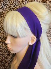 PLAIN DEEP PURPLE Fabric sciarpa copritesta fascia per capelli Self TIE Bow 50s 60s Stile Retrò