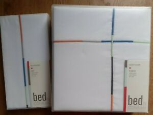 BNWT Designer Conran White Orange Blue Grey Green Stripe Cotton Duvet+2 Pillows