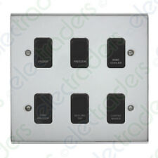 Deta Kitchen Grid Switch Polished Chrome / Black Switches - 6 Gang