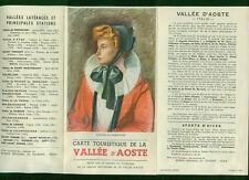 Prospekt Panoramakarte Aosta-Tal Vallée D' Aoste französisch Zeichnung 1930er