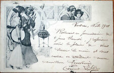 1901 Art Nouveau Postcard: Two Women & Incense, Tambourine
