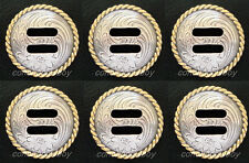 Set of 6 Western Horse Tack Antique Gold Round Rope Edge Slotted Conchos 1-1/2""