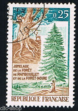 1 FRANCOBOLLO FRANCIA FORESTA RAMBOUILLET NERA 1968 usato