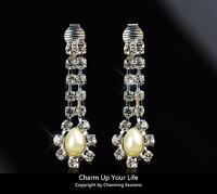 18K White Gold Plated Stud Earrings with Swarovski Element Crystals & Pearls