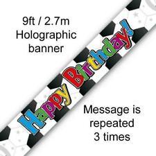 9ft Foil Banner - Happy Birthday - Football/Soccer Design