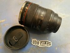 Camera Lens Thermos As Canon EF 24-105mm Coffee Mug Cup Stainless w Lid Used