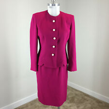 Vintage Herbert Grossman 6 p Hot Pink Wool Skirt Suit Pearl Button Cocktail