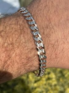 Mens Cuban Bracelet Diamond Cut Two Tone Real 14k Rose Gold & Solid 925 Silver