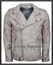 Mens Classic Fashion Retro Vintage Waxed Brando Real Leather Biker Jacket