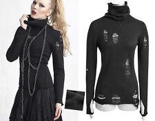 Pull gothique punk lolita destroy déchiré col roulé fashion mitaines Punkrave