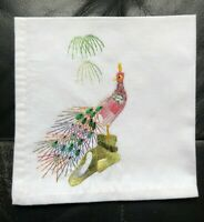 Vintage Embroidered Pink Multi Colour Peacock Bird Serviette White Cotton Napkin