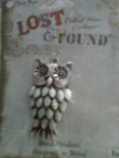 HTF Blue Moon/Lost & Found Silver Color Metal Owl Pendant/ Charm-MIOP
