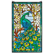 """34"""" Preening Peacock Garden Hand Crafted Stained Glass Cabochons Window"""