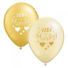 10 x Gold & Ivory Just Married Balloons Helium or Air Party Wedding Balloon.