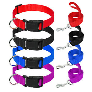 Cheap Matching Dog Collar and Lead Set Durable Nylon for Pet Puppy Cat XS S M L