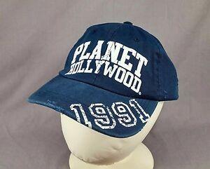 NWT Planet Hollywood 1991 Hat Cap Flock Letter Distressed Adjustable Blue Adult