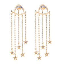 Moon Star Long Tassel Pendant Drop Earrings Stud Ear Jacket Dangle Convertible