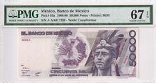 1986-88 Mexico 50000 Pesos P-93a S/N A AA017339 PMG 67 EPQ Superb Gem UNC
