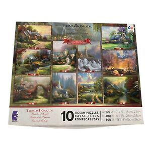 Thomas Kinkade Collectors's Edition 10 In 1 Jigzaw Puzzles Used