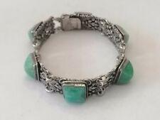 Ancien Bracelet Argent Massif & Jade 44,4 g - 18 cm Bijoux Vintage
