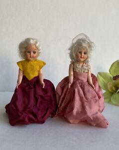 VINTAGE 1950s Set 2 Small 7 Inch Dolls Eyes Move Hard Plastic Platinum Blonde