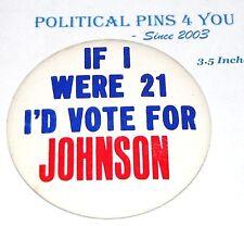 1964 LYNDON B. JOHNSON LBJ campaign pin pinback button political presidential