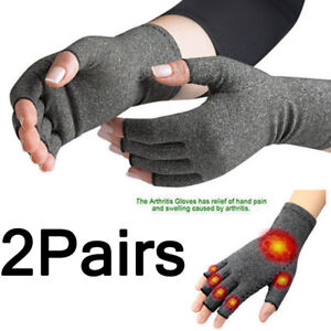 2X Anti Arthritis Compression Gloves Copper Fingerless Pain Support Sizes S M L