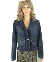 Tommy Hilfiger Women's One Button Blue Jean Embellished 2 Pockets Jacket Medium
