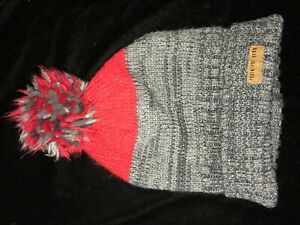 CARTERS boys size 4-8 winter KNIT BEANIE HAT red gray pom pom FLEECE LINED warm!