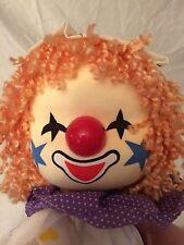 Clown Musical BREDEN Windup Music Box Rotating Head Sits Purple Polka Dot