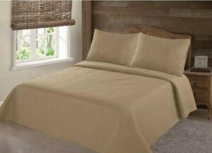 2/3PC Stippling stich bed dressing bedding quilt bedspread w/shams solid Nena