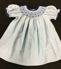 Anavini Hand Smocked Girls Blue Dress Size 9 Months Floral Short Sleeve Spring