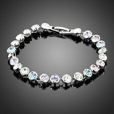 Made With Sparkly Swarovski Element Crystal Round Multi Colored Tennis Bracelet