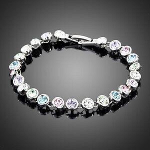 Round Multicolored Tennis Bracelet Made With Sparkly Swarovski Element Crystals