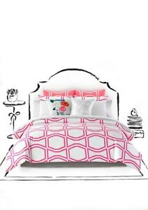 NEW! Kate Spade New York PINK WHITE Bow Tile FULL QUEEN Size 3 Pc Comforter Set