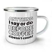 Before Coffee NEW Enamel Tea Mug 10 oz | Wellcoda