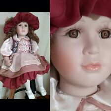 """Adorable SITTING BISQUE DOLL 18"""" Perfect Decorator Piece Lavishly dressed"""