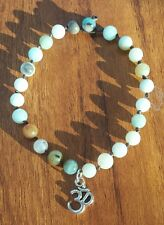 AMAZONITE Ohm Waxed Hemp Bracelet Hippy Tribal Buddhist Bikini Jewellery Hipster