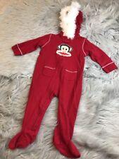 Paul Frank Sz 6/9 mths baby Monkey Santa Suit Hoodie Footie Red Fur One Piece