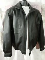 Members Only Black Leather Bomber Style Jacket Full ZIP Men's Size Large Tall